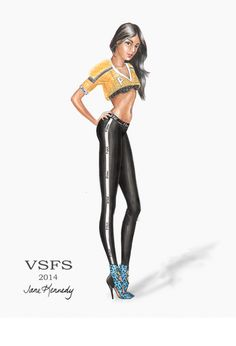 PINK drawing for the Victoria's Secret Fashion Show. Worn by Sara Sampaio. Illustration by Jane Kennedy www.janelkennedy.com