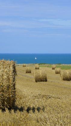 Le Bourg-Dun : la mer, Normandie, France