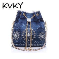 KVKY women denim purse rhinestone bag with chain handle shoulder bag women's summer beach little cluthes handmade PU bucket bag