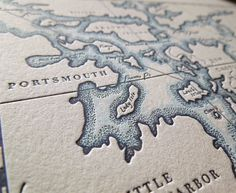 Portsmouth, New Hampshire, Letterpress Printed Map