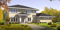 Prairie Style House Plans - 2922 Square Foot Home , 2 Story, 4 Bedroom and 3 Bath, 3 Garage Stalls by Monster House Plans - Plan 21-523