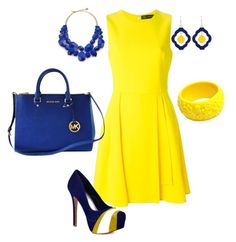 """""""blue & yellow, fun color"""" by mariamsilue on Polyvore featuring Versace, Herstar, Michael Kors, Occasionally Made, Kate Spade and Mariah Rovery"""