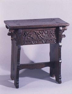 Stool    Date:      16th century  Culture:      English  Medium:      Oak  Dimensions:      21-1/16 x 20-1/4 x 11 in. (53.5 x 51.4 x 27.9 cm)  Classification:      Woodwork-Furniture  Credit Line:      Bequest of Irwin Untermyer, 1973  Accession Number:      1974.28.18