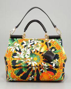 Miss Sicily Soft Canvas Print Bag by Dolce & Gabbana