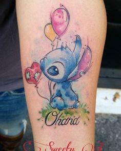 30 Delightful Ohana Tattoo Designs – No One Gets Left Behind Water colour Disney tattoo Diskrete Tattoos, Bild Tattoos, Trendy Tattoos, Cute Tattoos, Beautiful Tattoos, Body Art Tattoos, Small Tattoos, Sleeve Tattoos, Disney Stitch Tattoo