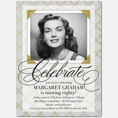 80th Birthday custom photo Invitation