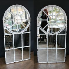 A brilliant pair of antique cast iron window frames glazed with mirror glass for sale on SalvoWEB from Architectural Forum in London [Salvo code #upcycled mirror reclaimed windows #salvolove