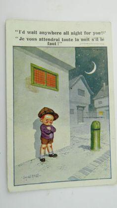 1932-Inter-Art-Donald-McGill-Comic-Postcard-No-7156-Little-Boy-Date-Sweetheart