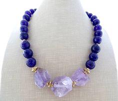 Purple jade necklace amethyst necklace chunky stone choker