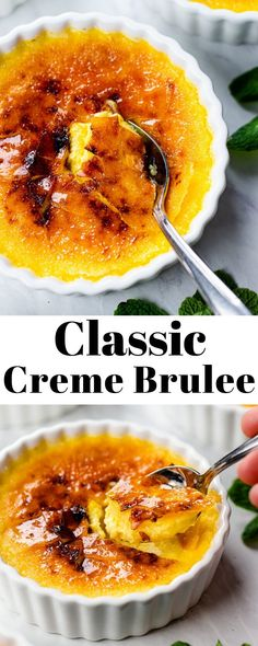Classic Creme Brulee - - Classic Crème Brulee Recipe made with creamy custard and crisp caramelized topping is a great make ahead dessert to surprise your guests! Mini Desserts, Just Desserts, Delicious Desserts, Yummy Food, Custard Desserts, Plated Desserts, Authentic Mexican Recipes, Baking Recipes, Snack Recipes