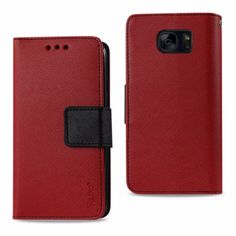 Reiko Samsung Galaxy S7 Edge Wallet Case 3 In 1-Red With Interior Polymer And Stand Function