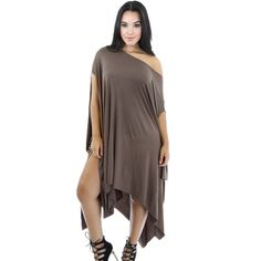 New Fashion Women Dress Round Neck Short Sleeve Irregular Hem Draped  Pregnant Casual Dress Khaki  93f52809b63