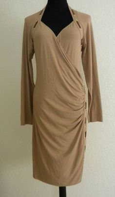 Cache Medium Women's Faux Wrap Dress Camel Brown Faux Leather Trim C12 #Cache #WrapDress #WeartoWork #Brown