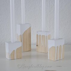 handmade wooden candle holders...