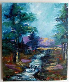 gail grant california impressionist fine art oil painting trees stream hills  #Impressionism