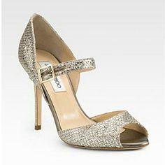 Jimmy Choo Lace Mary Jane Glitter Pumps Champagne