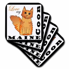 3dRose Love My Maine Coon Cat - Red Tabby, Ceramic Tile Coasters, set of 4