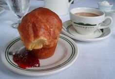 These popovers are famously served at the Jordan Pond House in Acadia National Park. This recipe was found online. Popover Recipe, Food For Thought, Holiday Recipes, Jordans, Food And Drink, Cooking Recipes, Vegetarian Recipes, Pond, Favorite Recipes