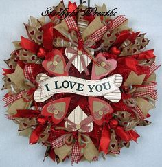 Valentine Mesh Wreath I Love You Burlap and Mesh Wreath