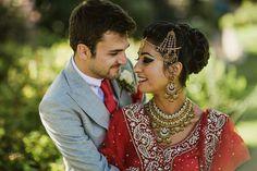 Manreet & Tom's Colorful Indian Wedding {U.} - The Big Fat Indian Wedding Big Fat Indian Wedding, South Asian Wedding, Red Wedding, Perfect Wedding, Country Wedding Groom, Red Sari, Grey Tuxedo, Indian Groom, Budget Wedding