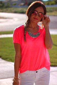 Neon pink and white