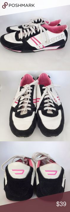 Diesel White Pink Leather Suede Detail Sneakers 9 Rare pair of sneakers from Diesel features white leader upper with black suede and hot pink accents. Leather Diesel appliqué on sides and pink embroidered double stripes, rubber sole and pink logo detail at back of heel.   • size US 9 | EU 40 --- fit a little large, like a US 9.5 • Gently worn a few times, but still have a lot of life left in them. Some wear on black suede and dirt on laces. Minor signs of wear throughout. Diesel Shoes…
