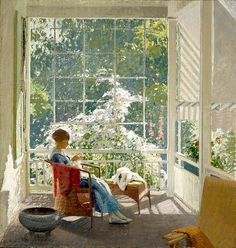 ⊰ Posing with Posies ⊱ paintings of women and flowers - John Sharman, At the End of the Porch