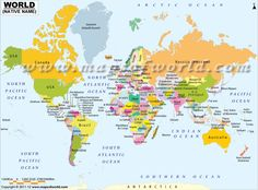 World physical map mountain ranges deserts etc click on each world map showing country names in their native language gumiabroncs Gallery