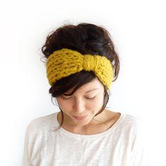Chunky Knit Turban Headband Mustard