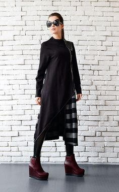 Extravagant Black Coat/Stripe Long Cardigan/Grey and Black Loose Coat/ Oversize Zipper Jacket/Long Warm Coat/Asymmetric Loose Jacket