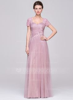 A-Line/Princess Sweetheart Floor-Length Tulle Mother of the Bride Dress With Ruffle Beading Sequins (008056890) - JJsHouse