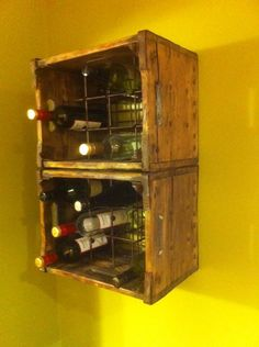 old milk crates turned into wine racks. Cleaned and finished.  YES!!!  Exactly what I was looking for, now I can display my very old Made in Detroit milk crates, whaaalah!