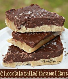 Chocolate Salted Caramel Bars - this recipe from A Thrifty Table is similar to one published by Annie's Eats (Salted Caramel Chocolate Shortbread bars - 2011). It's just missing the cookie layer. Looks good!