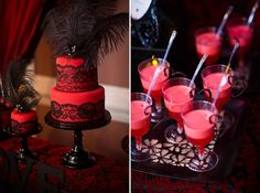 'HOT' Red and Black Bridal Shower Dessert Table » mondeliceblog.com Red Bridal Showers, Bridal Shower Desserts, Elegant Bridal Shower, Dessert Bars, Dessert Table, Burlesque Theme Party, Goodbye Party, Hot Wheels Birthday, Love Fest