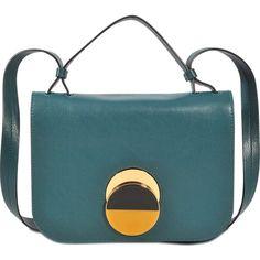 Marni Pois Medium crossbody bag ($1,470) ❤ liked on Polyvore featuring bags, handbags, shoulder bags, green, green crossbody, green purse, crossbody purses, blue crossbody and blue shoulder bag