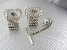 Classy Blue Topaz Center Cufflinks Vintage Silver Wrap Mesh Tie Tack Set Swank Designer Mens Fine Jewelry.  A perfect addition to a collection