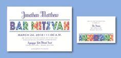 Marvelous Mosaic #Bar #Mitzvah #Invitation