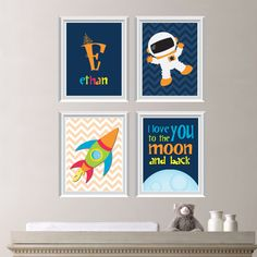 Astronaut Love Print Quad Baby. Decor. Kid. by RhondavousDesigns2, $35.00
