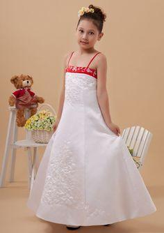 2015 Satin Buttons Appliques White Tea Length Spaghetti Straps Sleeveless Flower Girl Dresses FGD