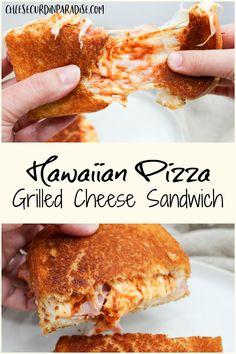 Everyone's favorite sweet and savory pizza is now a grilled cheese sandwich! Gooey, cheesy, and packed with Hawaiian pizza flavors makes a delicious sandwich twist! Grilled Cheese Hot Dog, Buffalo Chicken Grilled Cheese, Ultimate Grilled Cheese, Grilled Cheeses, Grilled Burger Recipes, Sandwich Recipes, Pizza Recipes, Cheesy Recipes, Delicious Sandwiches