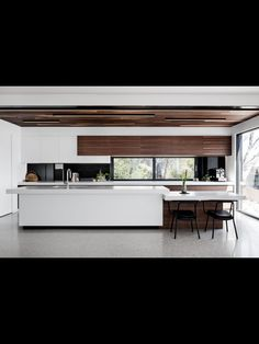 Like the different levels on the bench/island. Do want contrasting cabinetry but not a predominantly white kitchen
