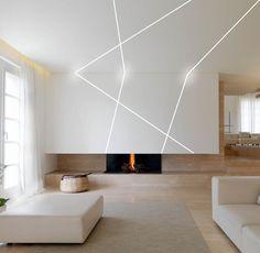 Interior Ceiling Design, House Ceiling Design, Home Lighting Design, Linear Lighting, Ceiling Light Design, Office Interior Design, Interior Decorating, House Design, Room Partition Designs