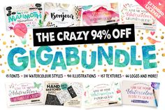 95% OFF - The Watercolour Gigabundle by Nicky Laatz on @creativemarket