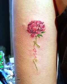 Tattoo by So Yeon #flowertattoo #lovetattoo #letteringtattoo #armtattoo #cutetattoo #tattoo