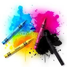 In general, this is the idea (minus the color crayons) It's a watercolor and ink splatter tattoo.  These are the colors I want, however, I want the black in the middle with the magenta, yellow and cyan surrounding it. I'd prefer if they colors mixed a tiny bit more to reveal the green, blue and red when they touched.