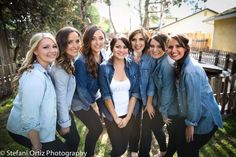Stefani Ortiz photography captured the bride with her bridesmaids in denim shirts and black leggings day of wedding getting ready matching outfits