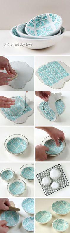 DIY stamped clay bowls // bowls estampados con sellos