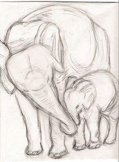 Elefantes por PlaidSheep en DeviantArt - Una naturaleza muerta de un molde de yeso de dos e . - Elefantes por PlaidSheep en DeviantArt – Una naturaleza muerta de un elenco de yeso de dos elefant - Art Drawings Sketches Simple, Animal Sketches, Pencil Art Drawings, Cute Drawings, Simple Animal Drawings, Drawing Ideas, Cool Sketches, Beautiful Drawings, Drawing Tips