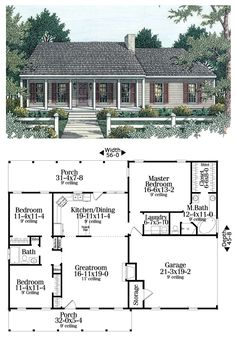 House Plan 40026 | Total living area: 1492 sq ft, 3 bedrooms & 2 bathrooms. Split bedrooms, an open floor plan and nice porches. #ranchstyle #houseplans