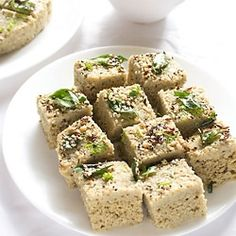 moong dal dhokla - healthy savory snack of steamed cake made with whole mung beans/green gram. a vegan recipe.
